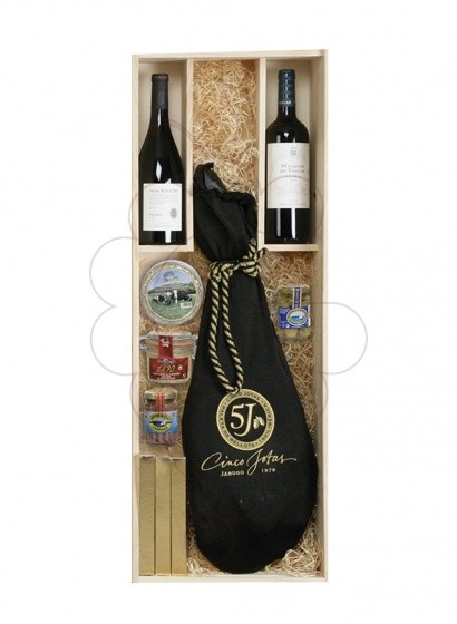 Photo Christmas boxes 2 Bottles Wine Pack + Spanish Ham 7kg
